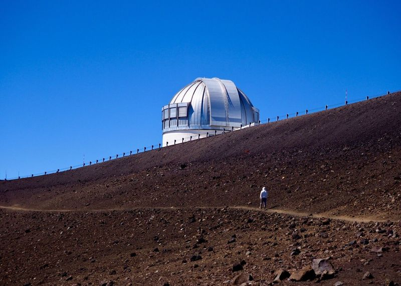 Keck Observatory in Hawaii Blue Clear Sky One Person Dome Day Architecture Discovery Adventure Futuristic Outdoors Astronomy Sky One Man Only People Mauna Kea Keck Observatory Beauty In Nature Volcanic Landscape Volcano Outdoor Photography Big Island Hawaii EyeEm Nature Lover Observatory Space Exploration Go Higher