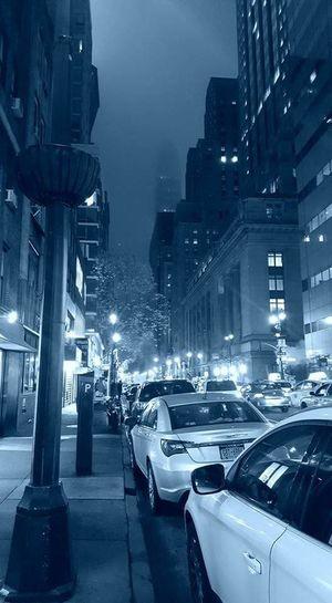 Illuminated City Street Architecture City Life New York City Foggy