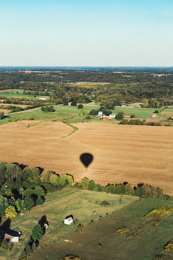 Aerial View Agriculture Beauty In Nature Clear Sky Day Farm Hot Air Balloon Landscape Nature No People Outdoors Rolling Landscape Rural Scene