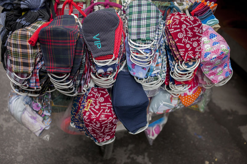 masks Arrangement Cart Culture Cultures Lifestyles Market Masks Personal Perspective Selling Street Weat VietNam Style Vietnamese Fashion