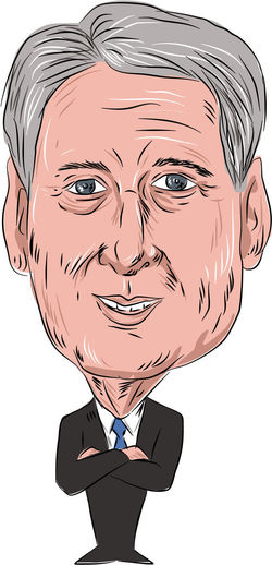 Caricature illustration of Philip Anthony Hammond PC MP, British Conservative politician and Chancellor of the Exchequer facing front done in cartoon style on isolated background. British Conservative Caricature Cartoon Chancellor Of The Exchequer Front Human Face One Person Philip Anthony Hammond Politician Water Color White Background
