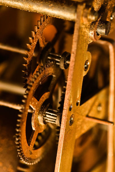 Clockworks Close-up Gear Machinery Rusty Selective Focus