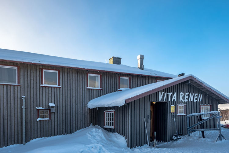 Vita Renen restaurant in the mountains Architecture Blue Building Exterior Built Structure Clear Sky Cold Temperature Day Nature No People Outdoors Sky Snow Winter