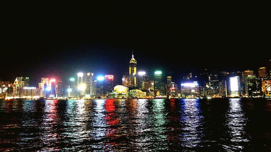HongKong Hong Kong Victoria Harbour Hongkong By Night Illuminated Reflection Waterfront Cityscape Urban Skyline Skyscraper Victoria Harbour