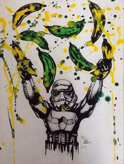 Banana Trooper 2 by L.P.H.artwork LPHartwork Painting Charcoal #skull #art #artist #sketch #tattoo #tattooed #ink #inked #pencil #doodle #skin #skeleton #tattooedup #color #colour #cooltattoo #picture #picture #bones #skull Art #wallart #skulltattoo #skullhead #skullaholic  Star Wars