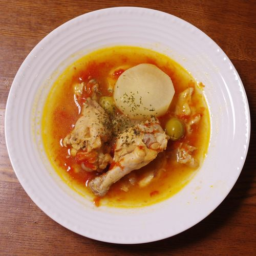 手羽元のトマト煮 / Chicken Stew with tomato Food Table Healthy Eating Ready-to-eat High Angle View Close-up Indoors  Day Soup No People Chicken Meat Chicken Soup Tomato Tomato Soup Bowl チキン トマト 煮込み