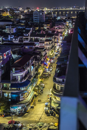 Cambodia Architecture Building Exterior Built Structure Car City City Life City Street Cityscape High Angle View Illuminated Incidental People Land Vehicle Mode Of Transportation Motor Vehicle Nature Night Outdoors Road Street Transportation