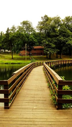 Pond Bridge Brown Green No People Day Wood - Material Tree Outdoors Water Grass Sky Be. Ready.