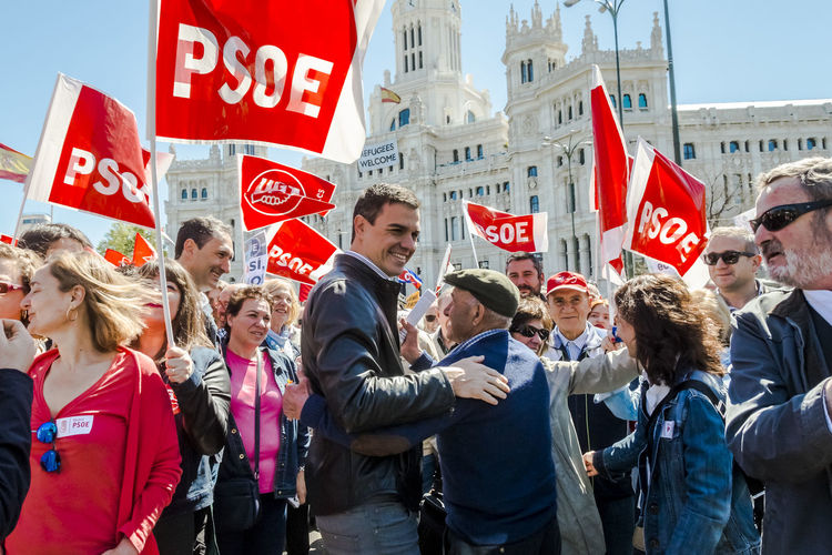 Pedro Sánchez, Secretary-General Spanish Socialist Workers' Party (PSOE), with a male supporter during the demonstration. The trade unions, the Workers' Commissions (CCOO) and the General Union of Workers (UGT), lead the May 1st demonstration for the labour movement in Madrid, Spain. Madrid Spain May 1st 2016 City Crowd Demonstration Editorial  Information Sign Labor Day Large Group Of People May Day May Day 2016 Mixed Age Range Outdoors Pay Pedro Sánchez Politics Protest Psoe Red Rights Socialist