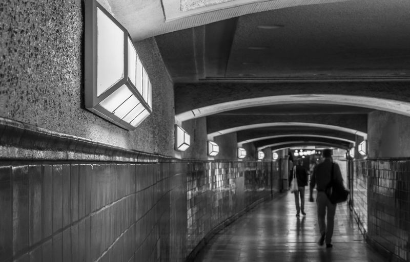 Subway Station Blurred Motion Heidelberger Platz U-Bahnhof Underground Station  Underpass Tunnel Architecture Walking Built Structure Rear View Real People Lifestyles Indoors  Two People Men Transportation Direction People The Way Forward Women Illuminated Full Length