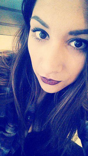 Selfportrait Selfies Matte Lipstick DarkLipstick Flannel Almondeyes Eyelashes Makeup Its Me Brown Hair Brown Eyes