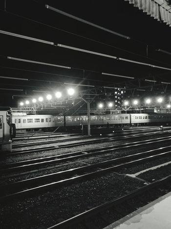 ( ´ー`)フゥー... Night Illuminated Transportation Railroad Track Public Transportation Railroad Station Rail Transportation Railroad Station Platform Train Station Railroad Track Transportation