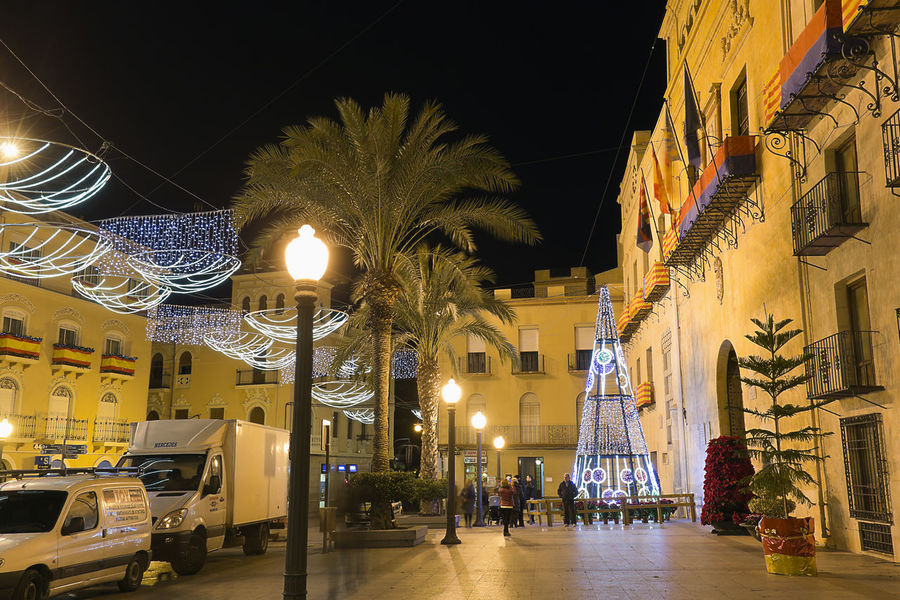 Elche, Spain. December 18, 2017: Town Hall Square of the city of Elche, with Christmas decoration. Alacant Alicante Alicante Province Spain Christmas Elche Elx SPAIN Spanish Travel Architecture Building Exterior Built Structure Chrismas Lights Christmas Decoration Christmas Ornament Illuminated Night No People Outdoors Travel Destinations