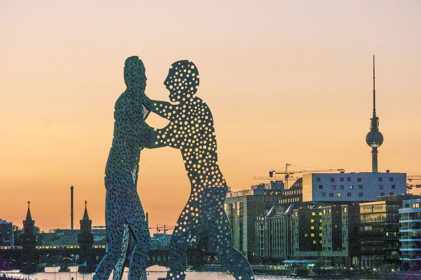 Spree River with Molecule Men and TV Tower Berlin Germany 🇩🇪 Deutschland Molecule Men Spree River Berlin TV Tower Color Image Day No People Outdoors Sunset Water
