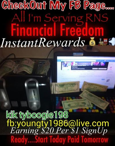 """SERIOUS PEOPLE ONLY) ALL YOU NEED IS $1.00. ON A Bank DEBIT/CREDIT CARD or PayPal/ Rush Debit Card Here's How you Will START GETTING PAID DAILY... YOU are REFERRED to OUR INCENTIVE COMPANY calledInstantRewardsFilledwith a list of Offer Programs.....YOU CHOOSE THE CREDITREPORT Offer to try out for a FREE TRIAL PERIOD........After paying your $1.00 Upon Completing/Filling out the Info, You are then Qualified to START REFERRING OTHERS And when they do the same, Paying their $1.00 and Completing their offer YOU GET PAID $20 PER PERSON TO COMPLETE THE STEPS AND GET STARTED.....Click """"My Link"""" Below and GET STARTED:  myhttp://www.starter.instantrewards.net/index.php?ref=392591 YouWill Click my Link, enter your Email Address, Then Complete the Credit Report Offer to Earn your Credit Value of 1.00 and then you can start referring ppl to your link with their $1.00 and Start Earning $20.00 per referral make $20-$100 that's when you sign up Http://www.starter.instantrewards.net/index.php?ref=392591"""