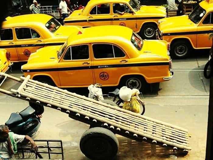 Kolkota West Bengal Cars and Hand Carts Yellow Cabs