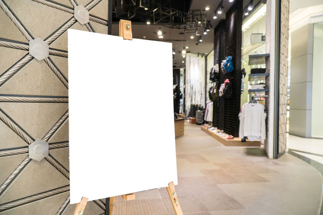 empty poster in front of store template Business Architecture Banner Blank Business Business Finance And Industry Consumerism Day Empty Indoors  No People Store Template