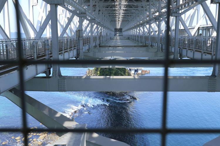 海峡の真ん中辺りまで、橋の遊歩道を歩いて見学できる(^^) Architecture Bridge - Man Made Structure Built Structure City Connection Day Modern No People Outdoors Sea Transportation Water EyeEmNewHere EyeEm Best Shots - Architecture 鳴門