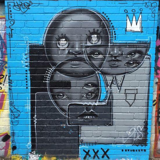 Mydogsighs Mydogsighs Streetart Street Art Graffiti Graffiti Art Blue Grey Faces Circles Portsmouth Fratton Park Portsmouth Football Club Pompey
