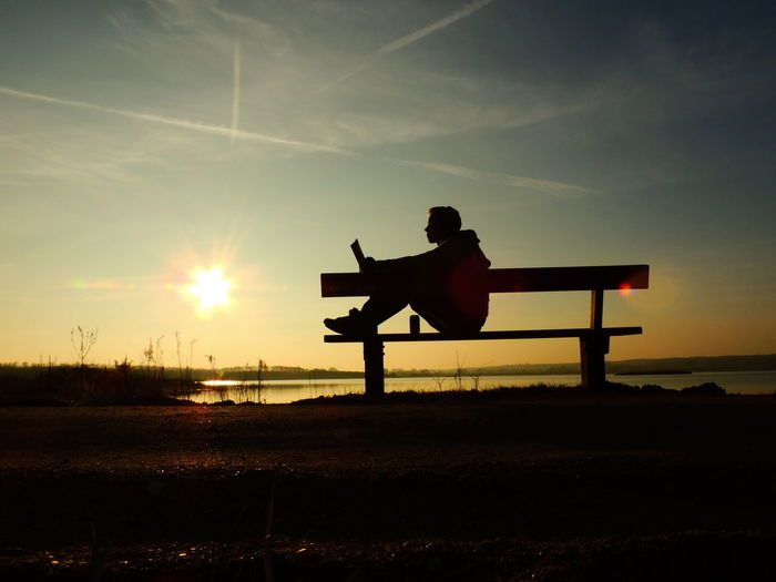 Reading Book Bench Man Sunset Silhouette Lake Denmark Dramatic Sky