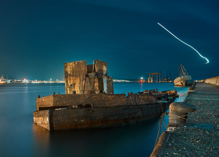 Re edited, (didnt like the other ) Harbour Night Lights Nightphotography Wreck Abandoned Blue Built Structure Illuminated Long Exposure Mode Of Transportation Motion Nature Nautical Vessel Night No People Outdoors Rusty Sea Ship Shipwreck Sky Transportation Water Waterfront My Best Travel Photo Capture Tomorrow My Best Photo