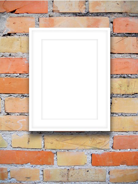 Close-up of one white picture frame on orange brick wall background 2016 Backgrounds Blank Brick Wall Canvas Day Empty Exterior Frame Image No People Orange Photo Picture Portfolio Poster Product Product Placement Setting Template Wall - Building Feature White