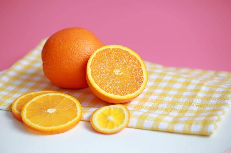 Freshness Fruit Fruitporn Healthy Eating Orange Orange Color Orange Fruits Pink Background Ready To Eat Slice Of Orange Slices Spa Sweet Table Table Cloth Temptation Vitamin Vitamin C Tropical Summer