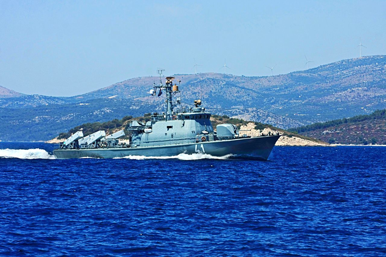nautical vessel, mountain, transportation, blue, nature, day, outdoors, scenics, beauty in nature, water, sea, no people, clear sky, sky
