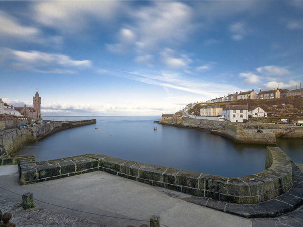 Architecture Building Exterior Built Structure Calm Water Cloud - Sky Cornwall Day History Landscape Nature No People Outdoors Porthleven Sea Sea And Sky Seascape Sky Travel Destinations Water