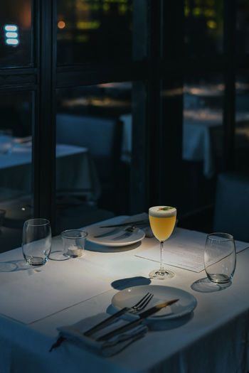 View of drink on table at restaurant