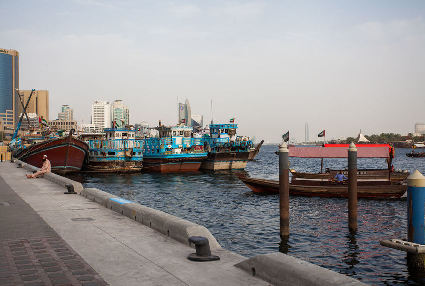 Marina Dubai Nautical Vessel Water Transportation Mode Of Transportation Sky Architecture Moored Harbor Built Structure Building Exterior Nature Day No People Outdoors City Pier Sea Waterfront Port Marina Fishing Boat