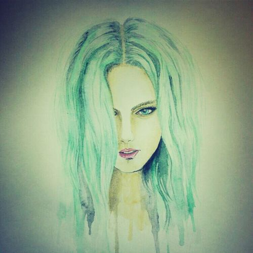 Art Drawing Girl New Blue Hair Long Hair Tiffany Colourful Hair Bright Hair