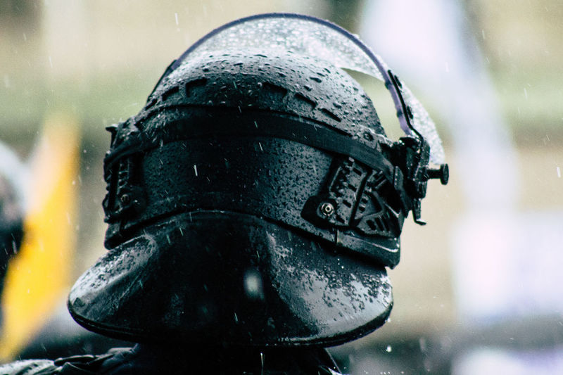 Close-up of helmet in rainy season