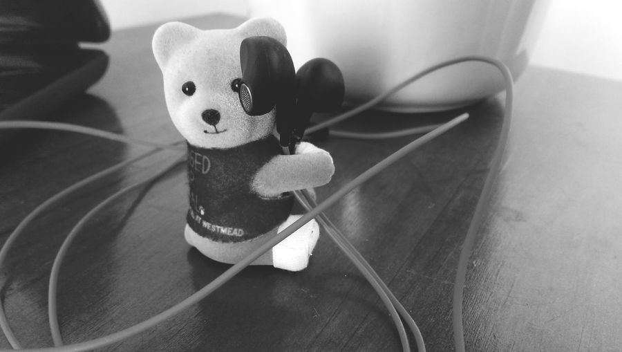 Music can sometimes mend a bandaged bear. Up Close No Street Photography Tuesday Morning Toybear Blackandwhite