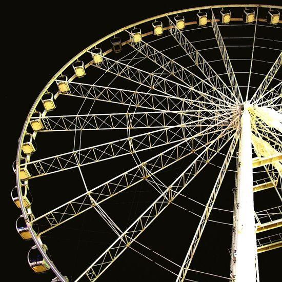 Arts Culture And Entertainment Ferris Wheel Amusement Park Night No People Illuminated Low Angle View Black Background Outdoors Sky Astronomy Uae,abudhabi Doha,Qatar City