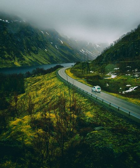 Nature_collection Nature Beauty In Nature Lofoten Islands Sea Fog Norway Water Tree Mountain Road Sky Landscape Foggy Weather Snowcapped Mountain Road