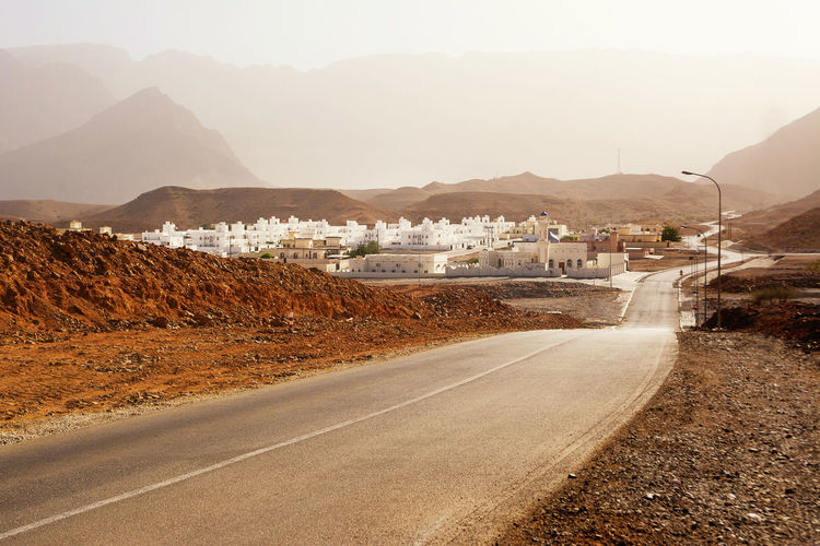 Small Omani village near Qurayyat (Oman) Village Oman Oman_photography Tourism Middle East Valley Town Qurayyat Road No People Direction Tranquil Scene Outdoors