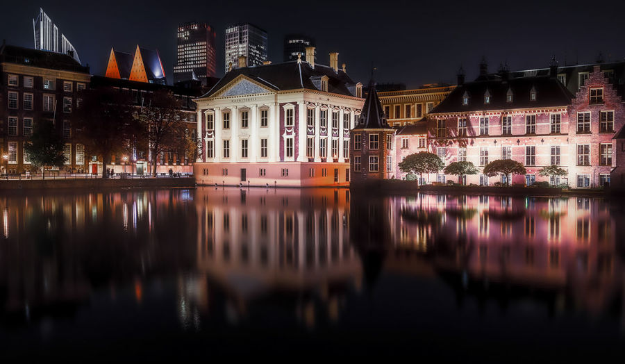 Architecture Building Exterior Built Structure Reflection Building Water Waterfront Illuminated Night City No People Residential District Nature River House Sky Outdoors Row House Den Haag Remo SCarfo Holland Dutch City