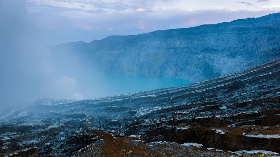 Sunrise on Mount Ijen. Crater Lake Volcano Ijen INDONESIA ASIA Java Landscape Nature Mountain Formation Beauty In Nature Mountain Range Tranquil Scene Scenics - Nature