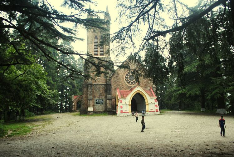 INDIA 2014 : Children played cricket at yard, facade the mystery place in wilderness of Saint John's Church. Coniferous Forest Local Life Church Wilderness Crickets Children Mysterious Place India People Photography Travel Photography Tree Architecture Building Exterior EyeEmNewHere