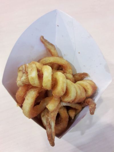 Snacks Refreshment Paper Box Brown Curly Objects Still Life Deep Fried  Fast Food Healthy Eating Freshness Close-up Ready-to-eat Indoors  Table Prepared Potato Food