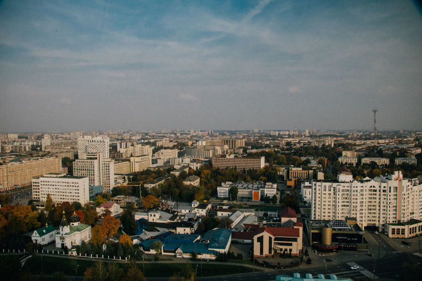 Aerial Aerial View Architecture Autumn Background Backgrounds Building Exterior Built Structure City Cityscape Cloud Colors Day Minsk Minskcity  No People Outdoors Roof Sky Street Town View