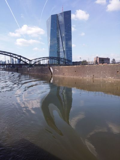 Reflection Tower Water Architecture Sky River City Built Structure Skyscraper Urban Skyline Majestic Reflection Sunlight Sunny Day Architecture