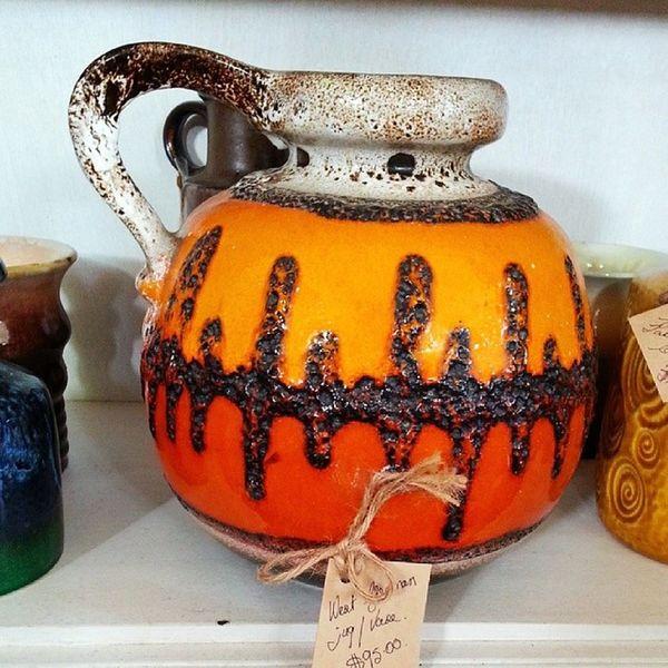 Kitschy and I'm loving it. Retro Orange Pottery at Corner D'or Gerringong. Housewares homedecor homedecoration interiors
