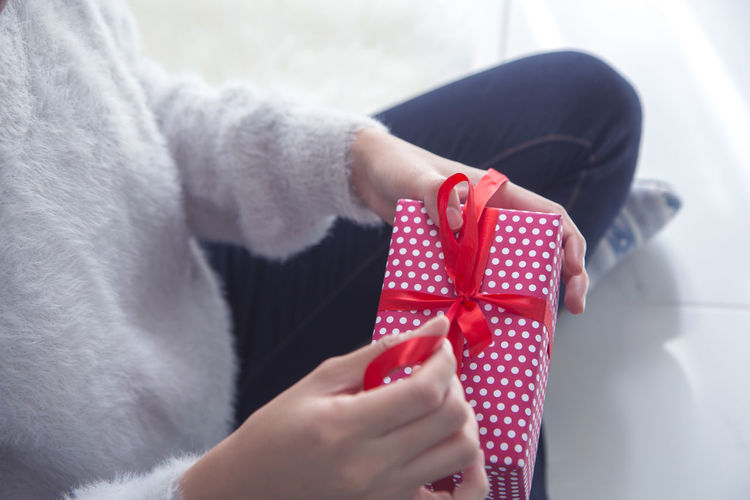 Woman unboxing gift box Gift Gift Box Unboxing Present Winter Holiday Shopping ♡ Surprise Open Valentine Anniversary