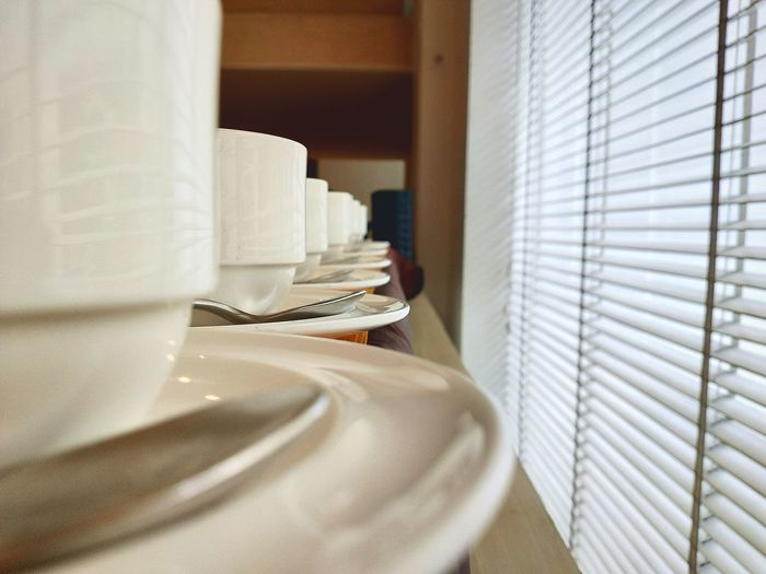 Close-up of empty plate on table at home