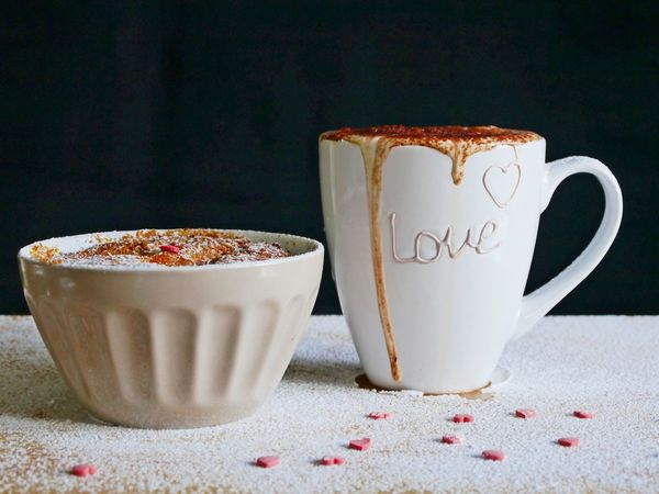 Be My Valentine Emotions Love Valentine's Day  Close-up Coffee - Drink Coffee Cup Creamy Day Drink Food And Drink Freshness Frothy Drink Indoors  Indulgence Milk Foam No People Nutcake Pink Color Powdered Sugar Refreshment Still Life Studio Shot Sugar Hearts Table