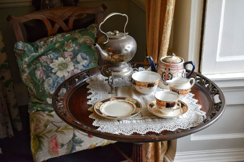 Close-Up Of Tea Set On Table