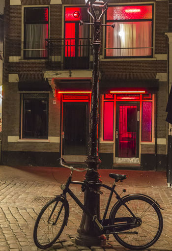 Amsterdam Netherlands Red Light District Bicycle Building Exterior Bycycle Holland Night Prostitution Street Streetphotography