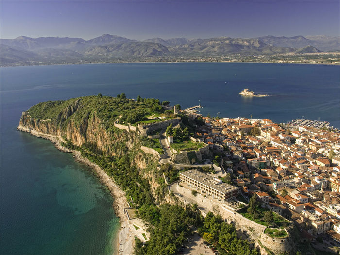High angle view of house by sea at nafplio